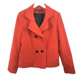 Giacca Wool Peacoat Double Breasted Orange